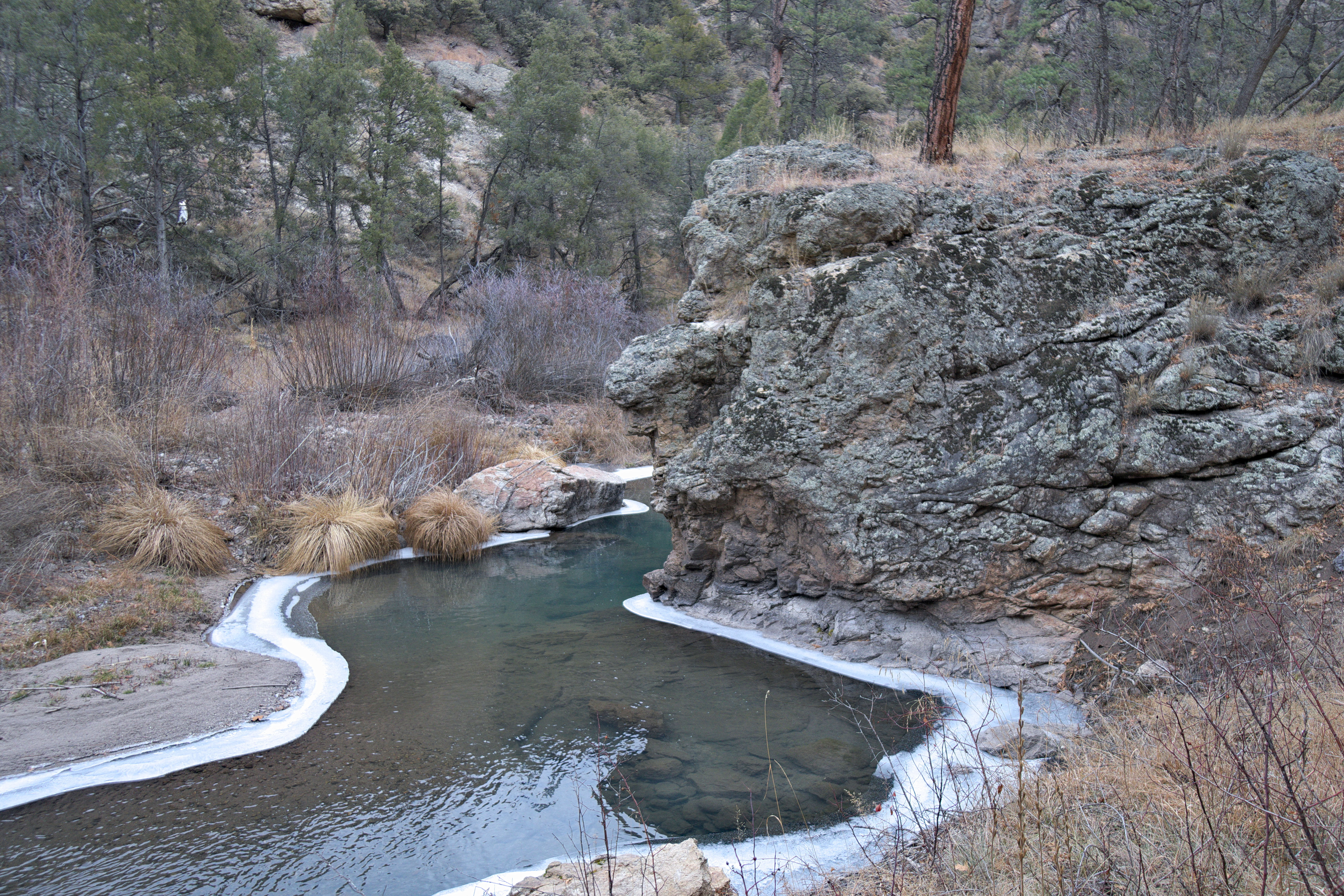 Icy bend in the main fork of the Gila River